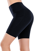 High Waist Navy Yoga Running Compression Biker Shorts for Workouts Exercise with 3 Pockets