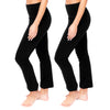Tummy Control High Waist Wide Lounge or Activewear Yoga Leggings Pants 2 Pack