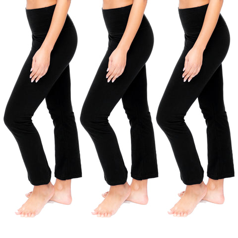 Tummy Control High Waist Wide Lounge or Activewear Yoga Leggings Pants 3 Pack