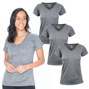 3 Pack Gray Active Wear V-neck Tee Shirt