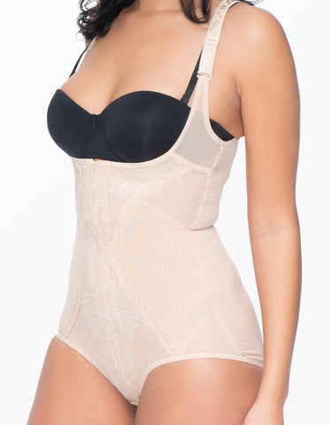 Image of Powermesh Shapewear Bodysuit with Front Zipper