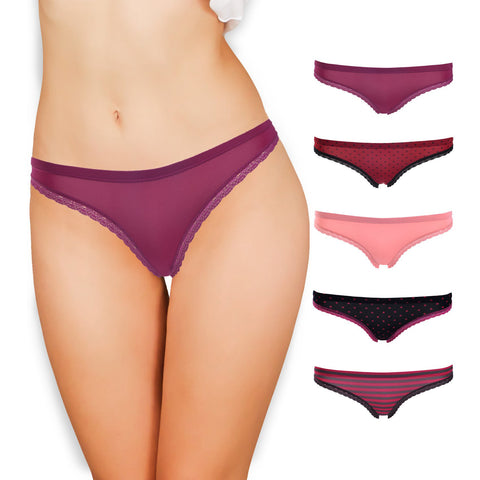 Emprella Underwear for Women - Silky Smooth Berry Bikini 5 Pack Seamless Ladies Cheeky Panties