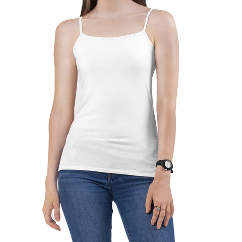 Essential Black or White Fitted Cami Camisole Spaghetti & Noodle Tank Top Shirt for Women
