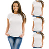 Women's 3 Pack Black & White Soft Fabric Solid Crew-Neck T-Shirt from Emprella