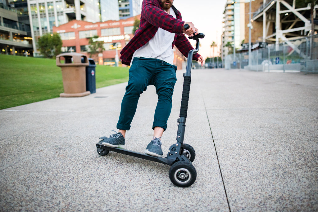 Scooterboard electric skateboard scooter hybrid 3 wheel
