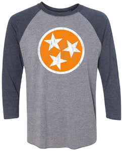 Orange TriStar - Navy/Premium Heather Raglan