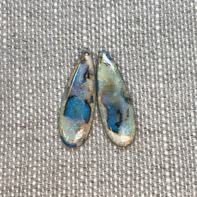 Sterling Opal 10x30mm Long Pear Cabochon Set