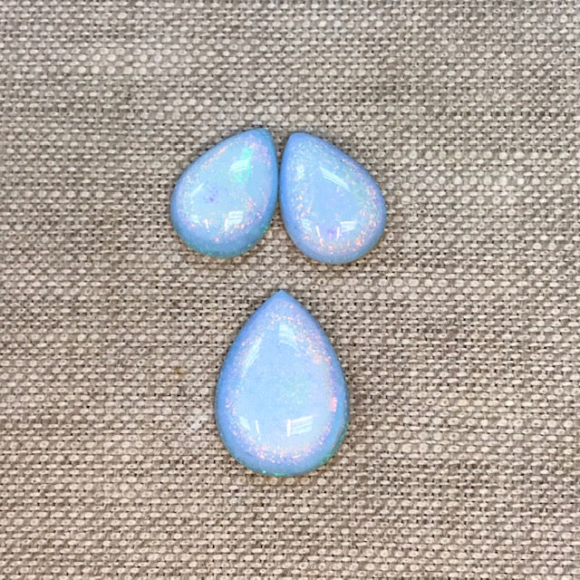 Sterling Opal Pear Cabochon Set