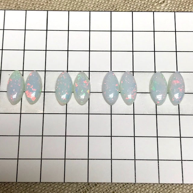 Sterling Opal 5x10mm Marquise Cabochon Pairs -- Set of 4
