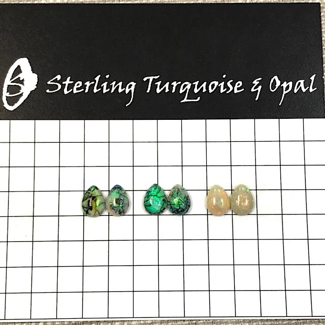 Sterling Opal 6x8mm Pear Cabochon Set