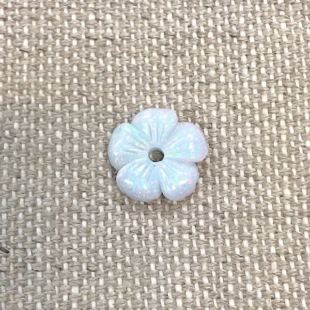 Sterling Opal Carved Flower