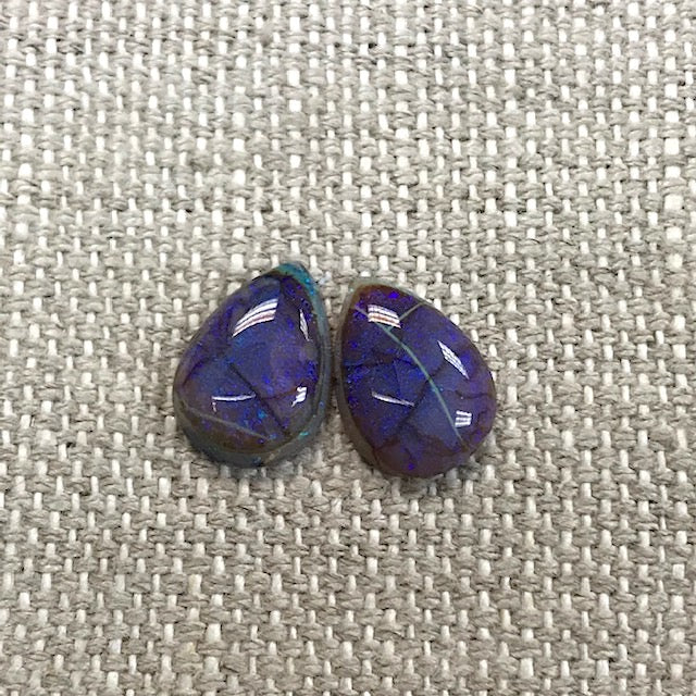 Sterling Opal 10x14mm Pear Cabochon Set