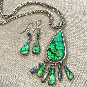 Sterling Opal Pendant/Earring Set in Sterling Silver