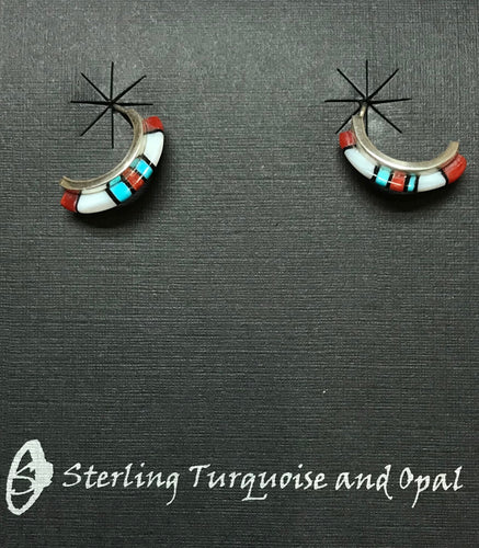 Sleeping Beauty Turquoise, Coral, Onyx Earrings