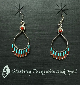 Sleeping Beauty Turquoise and Coral Chandelier Earrings