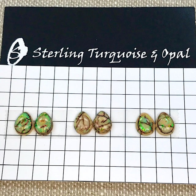 Sterling Opal 8x10mm Pear Cabochons -- 3 Pair