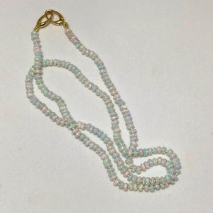 Sterling Opal 3mm Rondelle Knotted Necklace, 18kt Gold Clasp
