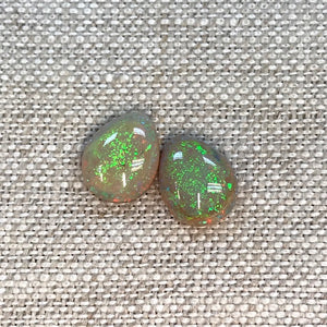 Sterling Opal 8x10mm Pear Cabochon Set
