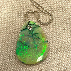 Sterling Opal Free Form Pendant W/ Sterling Silver