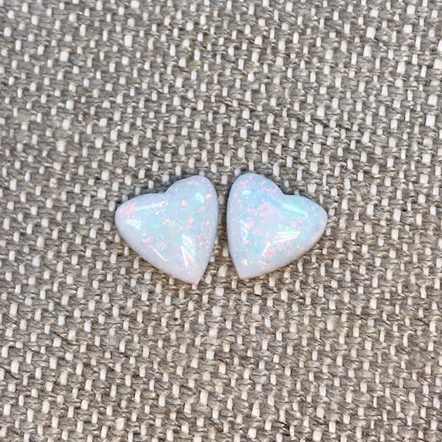 Sterling Opal 10mm Heart Cabochon Set
