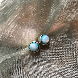 Sterling Opal 5mm Stud Pierced Earrings