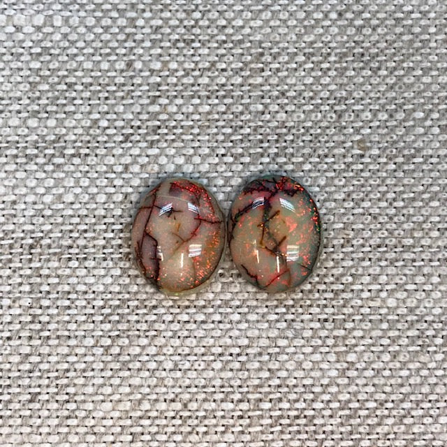 Sterling Opal 8x10mm Oval Cabochon Set