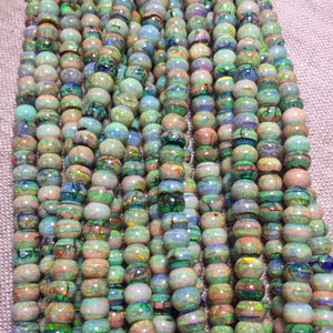 "Sterling Opal 18"" Strand 4mm Abacus Style Rondelles"
