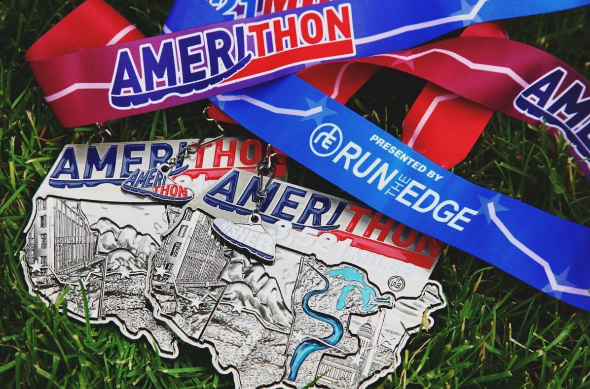 Amerithon Challenge Medal Medals Run The Edge