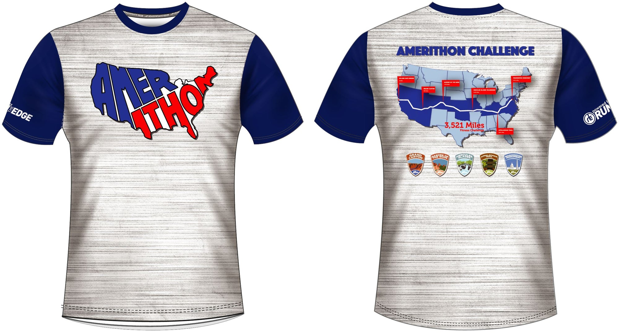NEW Amerithon Sublimated Short Sleeve Tech-T Shirts Run The Edge