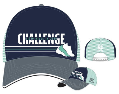 Run The Year 2019 Technical Trucker Hat - Navy/Teal Accessories Run The Edge