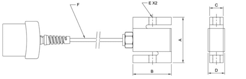 Mark-10 MR01 Load Cell Dimensional Drawing