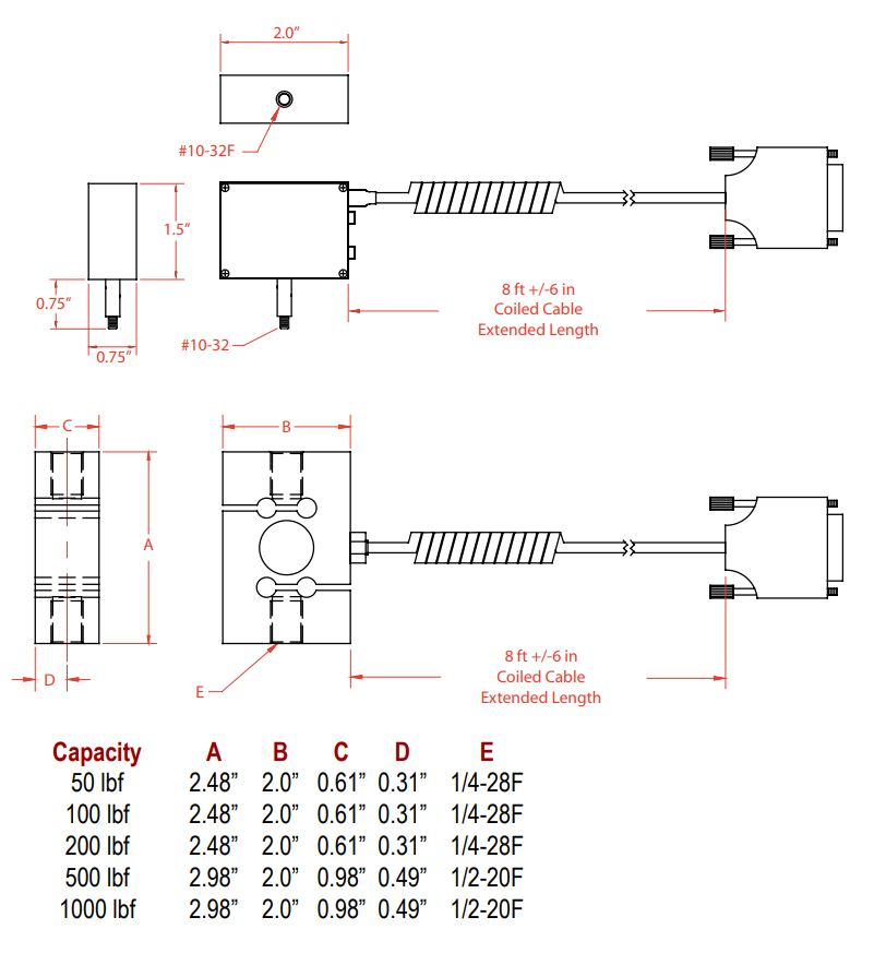 TLC Load Cell Dimensions