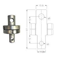 "A158/8-12/6, Male 5/8"" Eye End to Male Instron Type Om Fitting"