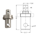 "Male 5/8"" Eye End to Male 1.25"" Eye End Adapter"