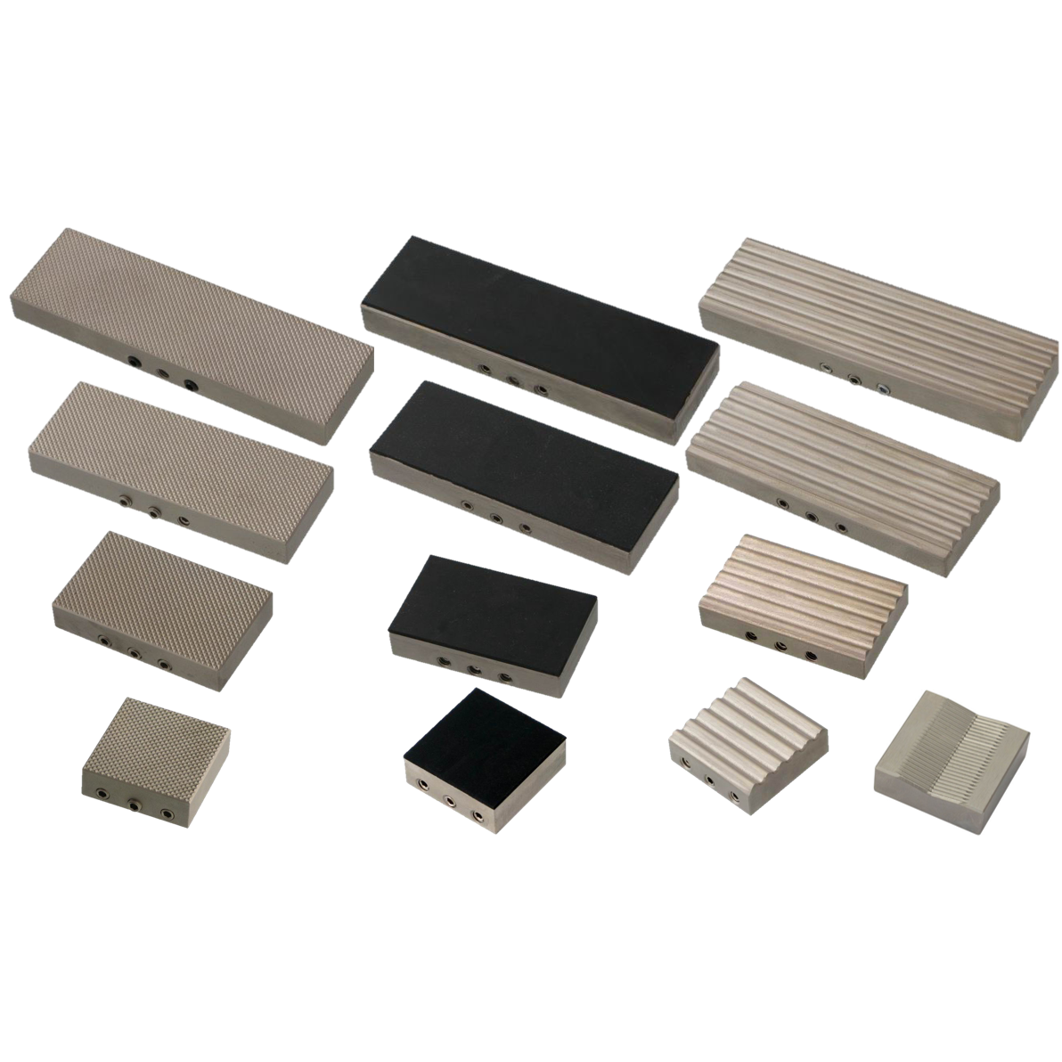Jaw with widths of 30, 50, 80 and 100 mm for different sample sizes.