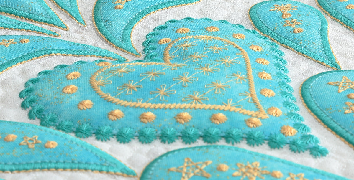 Feathered Christmas Machine Embroidered Applique By Sarah Vedeler