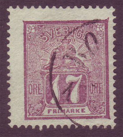 SW00145 Sweden Stamp # 14 F used, Lion and Arms Issue 1862-69