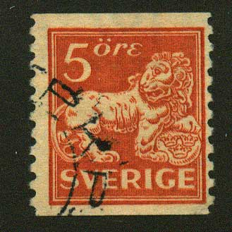 SW01235 Scott # 123 variety, used.  Standing Lion 1920-25