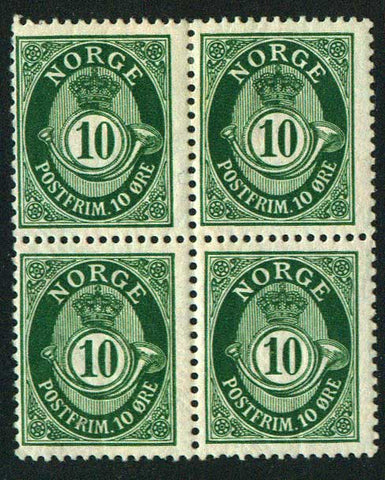 NO0081 Norway Scott # 8  block of 4 - Posthorn 1910-29