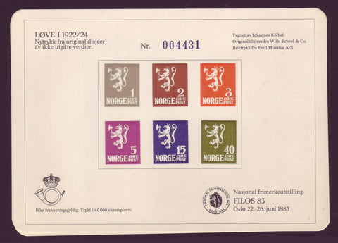 240022 Norway Souvenir Mini-sheet, Filos 83 National Stamp Show.