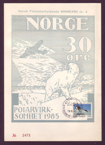240026 Norway Souvenir Card. 1985 Polar Summit