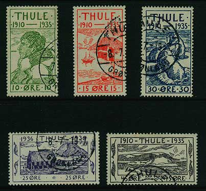 GR70002 Greenland                   Thule local set Facit T1-T5 Used
