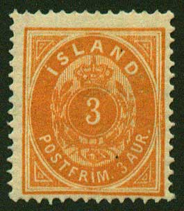 IC00152 Iceland Scott # 15 (small ''3'') MLH  1882