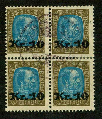IC01425 Iceland Scott # 142 F-VF Block of 4 used, surcharge 1929