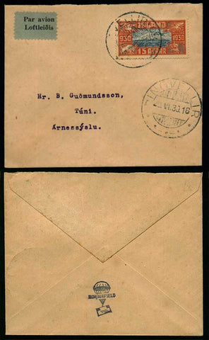 IC5004 Iceland Scott # C4 (air post) on cover 1930.