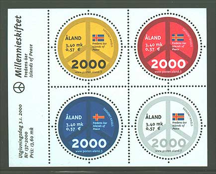 Aland souvenir sheet of 4 stamps showing flags and peace symbol.