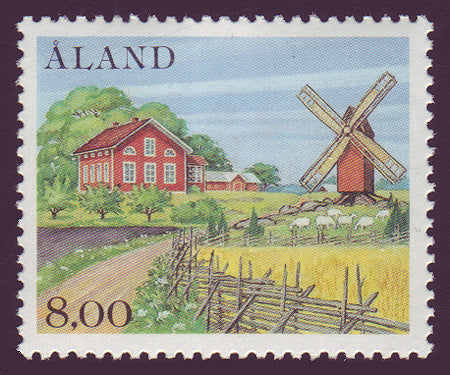 Aland rural scene showing windmill and cottage.