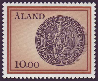 Aland stamp showing Ancient Seal of St. Olaf
