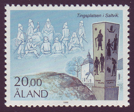Aland stamp showing contemporary monument.