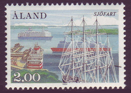 Aland stamp showing ships and Mariehavn harbour